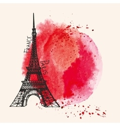 Eiffel towerWatercolor red splashParis card vector image