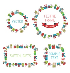 Festive hand drawn frames vector