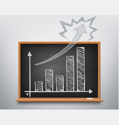 financial chart on the chalkboard is growing up vector image