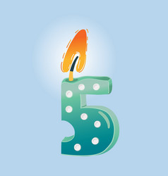 five birthday candle vector image