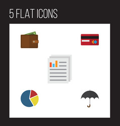 Flat gain set of document payment parasol and vector