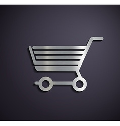 Flat metallic logo shopping cart vector image