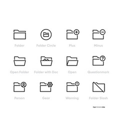 folders related line icons set outline vector image