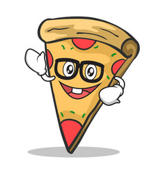 Geek face pizza character cartoon vector