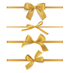 gift bows ribbons realistic decorative golden vector image