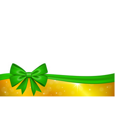 gold gift card with green ribbon bow isolated on vector image