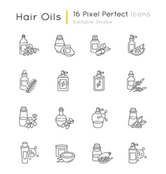 Hair oils pixel perfect linear icons set vector