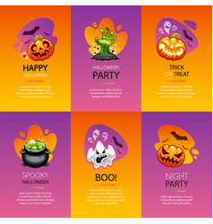 halloween greeting cards colorful set vector image