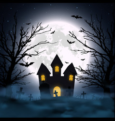 halloween night background haunted house vector image
