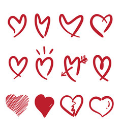 Hand drawn doodle style heart isolated on white vector