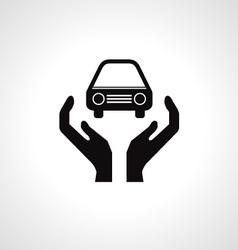Hands and car symbol vector