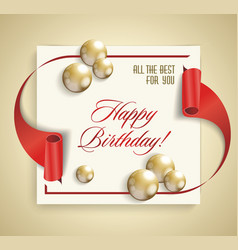 Happy birthday banner with red ribbon and golden vector