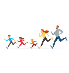 Happy family with children running or jogging for vector