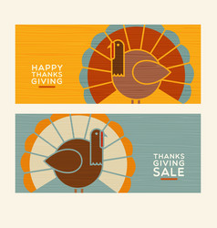 Happy thanksgiving abstract turkey banners vector
