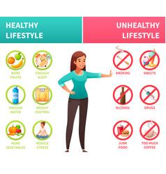 Healthy unhealthy lifestyle cartoon vector
