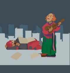 homeless street musician woman beggar on city vector image