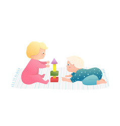 Infant boy and girl friends playing toys vector