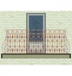 Iron balcony on brick wall vector