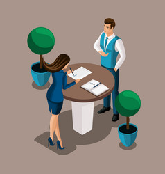 Isometric girl the entrepreneur signs the contract vector