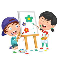 kids painting on canvas vector image