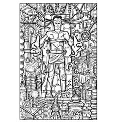 Laboratory monster engraved fantasy vector