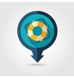 Lifebuoy pin map flat icon Summer Vacation vector