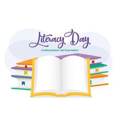 Literacy day open book school education cartoon vector