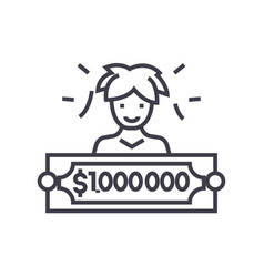 lottery winner concept thin line icon vector image