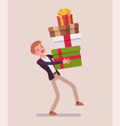 man holding a heap of gift boxes vector image