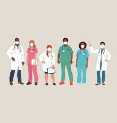 medical people doctors and nurses wearing face vector image
