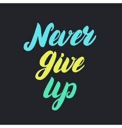 Never give up motivational colorful poster vector image