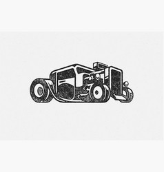 old classic hot rod car silhouette hand drawn ink vector image