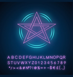 Pentagram neon light icon occult ritual pentacle vector
