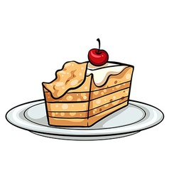 Plate with a cake vector