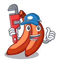 Plumber banana merah in shape cartoon vector