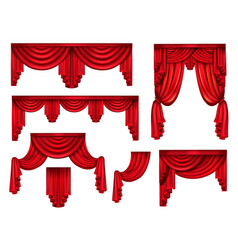 Red curtains or drapery realistic set vector