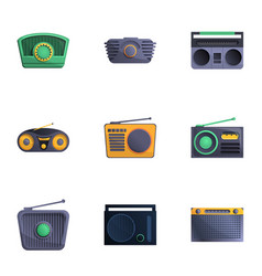 Retro radio icon set cartoon style vector