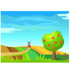 Rural farm landscape with windmill on field vector