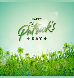 Saint patricks day with green clovers vector