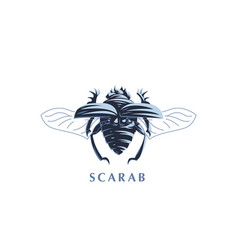 Scarab beetle with open wings vector
