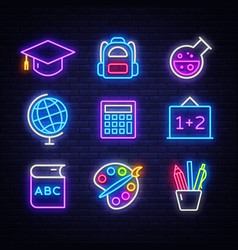 school neon icons set back to neon signs vector image