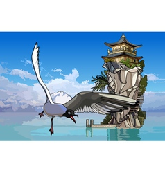 seagull flying over the sea to the island vector image