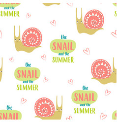 seamless cute snails pattern vector image