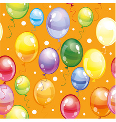 Seamless pattern with balloons on orange vector