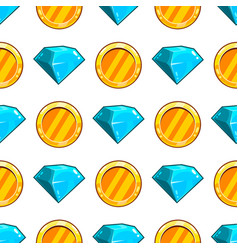 seamless pattern with gemstone and coin vector image