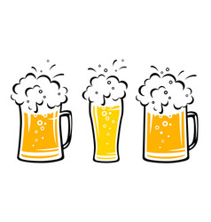 Set beer mug with bubbles and dribbles vector