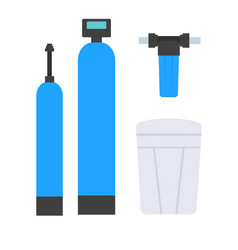 Set of elements for water supply schemes vector