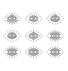 set of line eyes isolated on vector image
