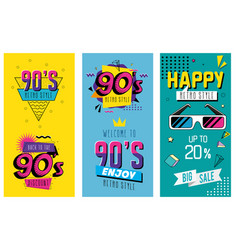 Set poster nineties retro style pop art vector