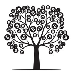 Shape tree with leaves and bitcoins outline vector